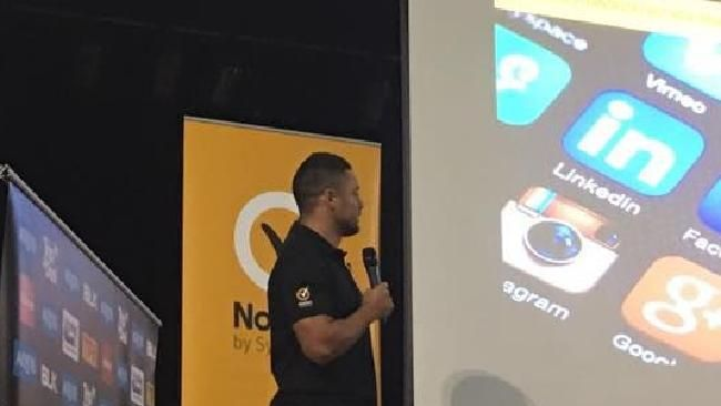JARRYD Hayne has been caught in the middle of an embarrassing pornography gaffe while presenting an online safety talk at a Gold Coast high school.