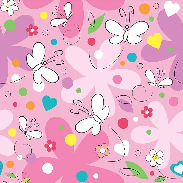 Borboletas e flores fundo - ilustração de arte em vetor