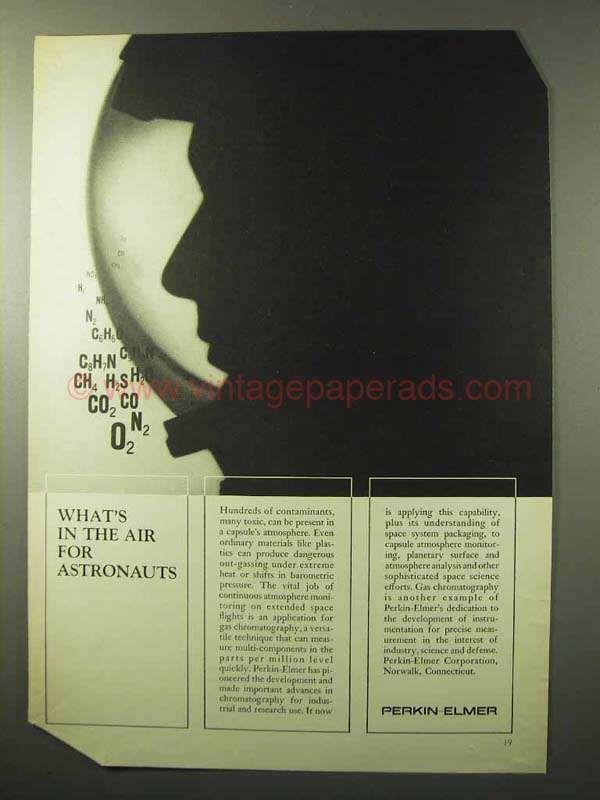 1964 Perkin-Elmer Gas Chromatography Ad - Astronauts
