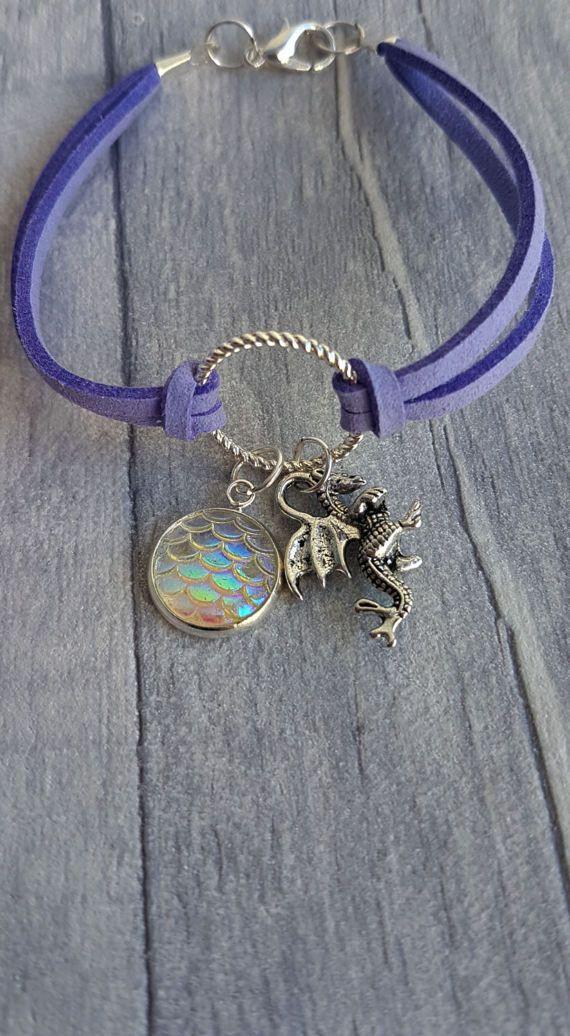 Dragon charm bracelet Dragon Charm Cord Bracelet Charm