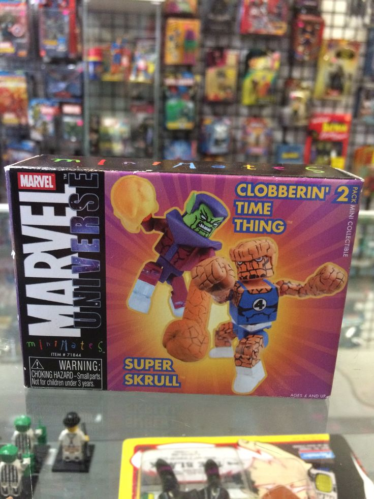 Marvel Universe Mini Mates Clobbering Time Thing and Super Skrull Toys Tower Records Exclusive