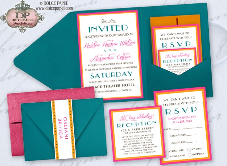 Miami Style Teal Turquoise Hot Pink And Orange Belly Band Pocket Wedding Invitations Set 5x7
