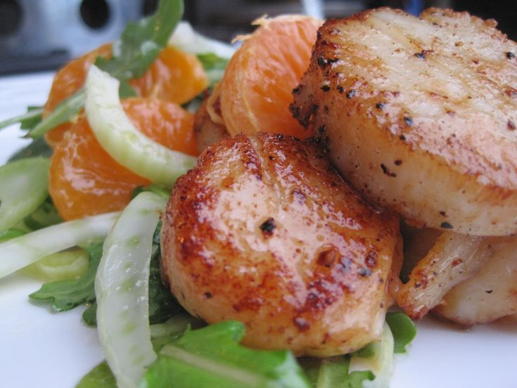 Pan Seared Scallops over Fresh Fennel and Mandarin Salad with Lemon ...