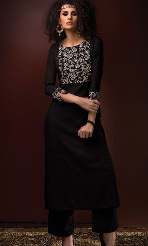 Cotton Rayon Embroidered Black Kurti