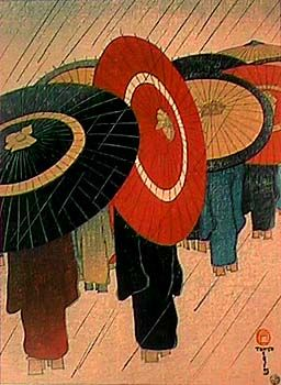 """Returning home in the rain"" Watanabe Shozaburo 1885-1962. Shōzaburō Watanabe was a Japanese print publisher and the driving force behind the Japanese printmaking movement known as shin-hanga."