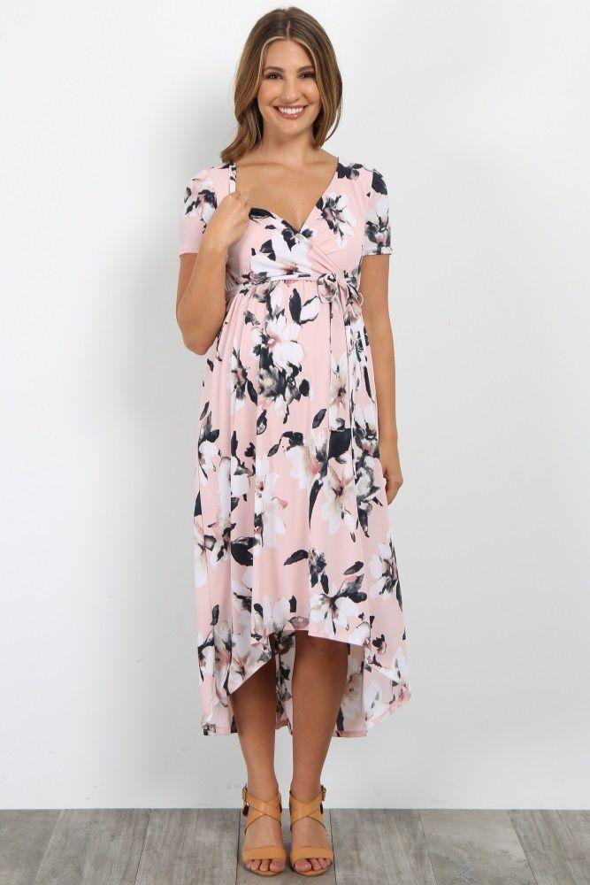 6b0bdc97e8 Pink Floral Hi-Low Wrap Dress Kismama Képek, Átlapolt Ruha, Terhesség