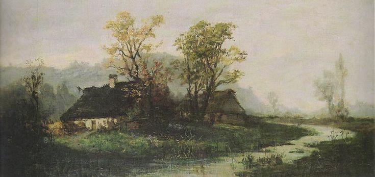 Pejzaż z chatami