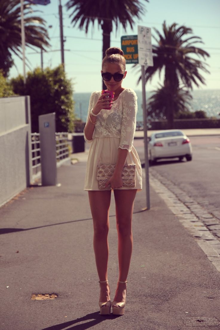 Forever New clutch, Jeffrey Campbell sandals, Nasty Gal sunglasses. <3