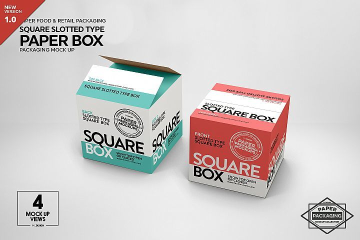 Download Square Slotted Type Paper Box Packaging Mockup Takeout Pizza Carrier Packaging Kraft Paper Cups Fri Design Mockup Free Box Mockup Free Packaging Mockup
