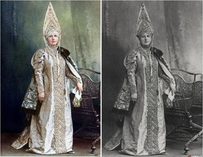 Бал-маскарад в Зимнем дворце. 1903 год. Раскрашенные фотографии Графиня Мария Александровна Келлер