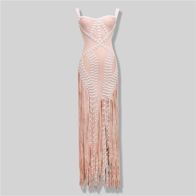 2016 new pearls pink sexy strap tassel women Cocktail party Bandage dress (H0895) US $89.00 /piece To Buy Or See Another Product Click On This Link  http://goo.gl/IdJFhm