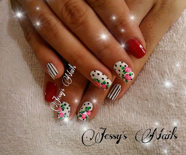 uñas con lunares #nail #nails #nailart #uñas #unhas #decoradas #puntos #lunares #delicadas #bonitas #modernas #juveniles #rojo #rosas #lineas #uñaslineas #desing2016 #amarillo #jessynails #uñaspuntos