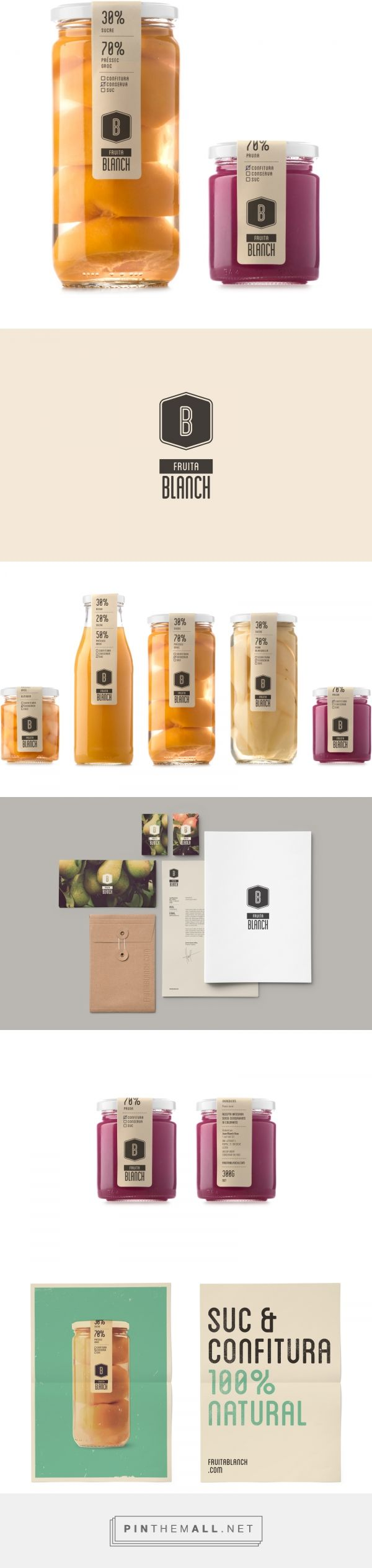 Fruita Blanch packaging by Atipus | Diseño gráfico curated by Packaging Diva PD. La nueva línea de productos Fruita Blanch quiere dar salida comercial a las conservas caseras que elabora la familia Blanch. Con fruta y productos de cosecha propia, 100% nat http://jrstudioweb.com/diseno-grafico/diseno-de-logotipos/