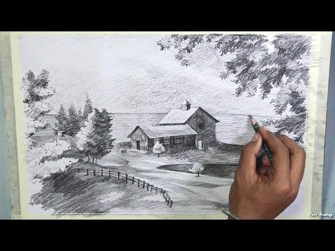 How to Draw A Beautiful Scenery in Pencil | step by step pencil drawing techniques - YouTube
