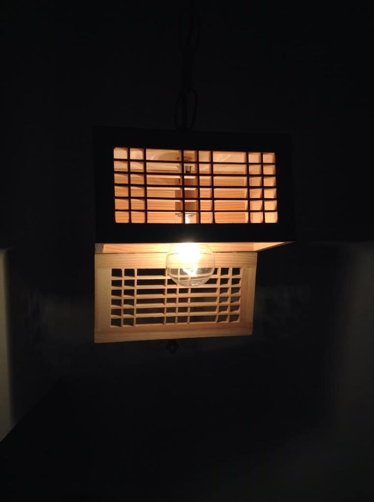 Wooden Rectangular Pendant Lighting Shade - Pendant Lighting, Wood Lamps -  This is an exciting handmade rectangular wooden light fixture! Ready to be hanged inside a corner of your home. It just needs to be plugged in and switched on.     This unique wood light fixture is an upcycled wooden crate box. This repurposed rectangular box light fixture can be placed to a... #Diy #Handmade #Lampshade #Lightfixture #Pendantlamp #Recycled #Sconce #Tutorial #Wood #Woodlamp