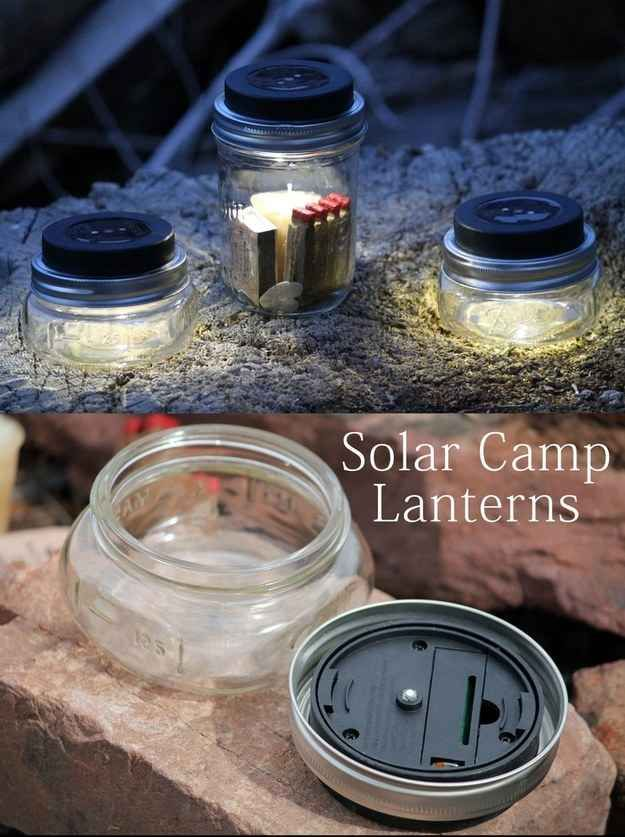 Make solar camp lanterns out of mason jars and solar disks.
