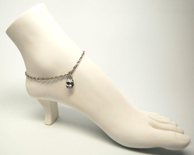 Bracelet cheville mariée bijoux cheville chic mariage chaine de pied cristal…