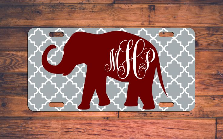Monogrammed Alabama License Plate AL Custom Houndstooth Roll Tide Car Tag Monogram Elephant Custom Plate Personalized Customized Fan Gift by TheMonogramStand on Etsy https://www.etsy.com/listing/263431083/monogrammed-alabama-license-plate-al