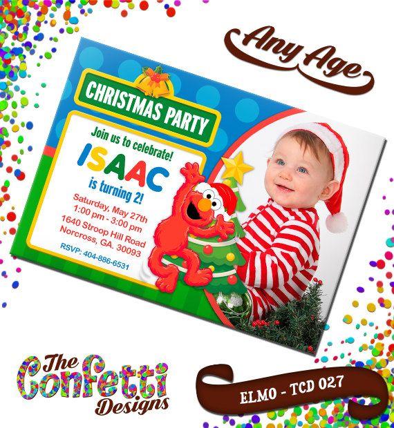 Christmas Elmo, Sesame Street Birthday, Christmas Invitation, Elmo Birthday Invitation, Sesame Street Invite, Party Invites TCD-027