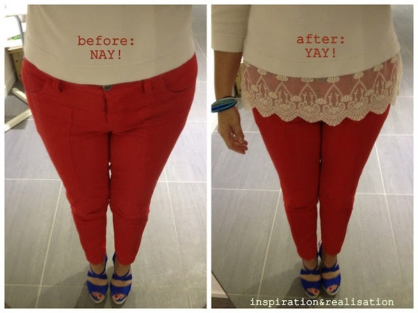 DIY: extra inches with lace.  Refashion a too short basic tee with a lace hem. diy-style