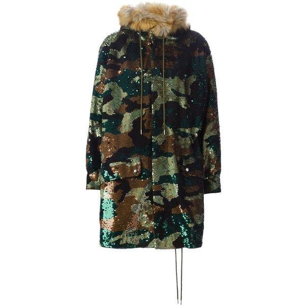 Ashish Sequin Camouflage Parka (249,010 PHP) via Polyvore featuring outerwear, coats, multicolour, parka coat, black parka, camouflage parka, camouflage coat and camo coat
