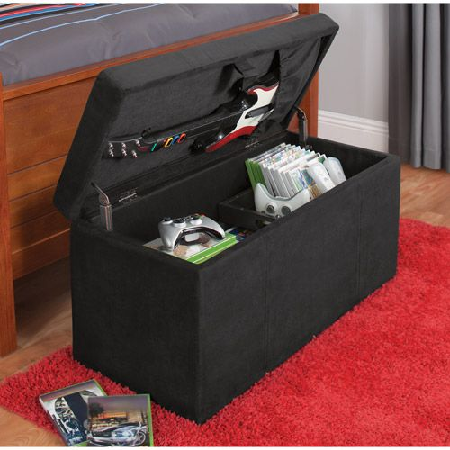 your zone gaming storage ottoman, black