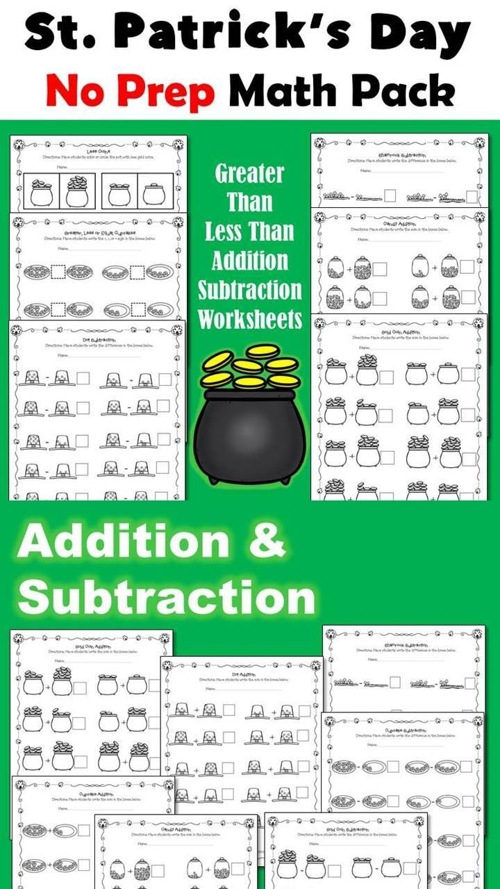 Saint Patrick S Day Math Math Addition And Subtraction Holiday Math Activities [ 1279 x 720 Pixel ]