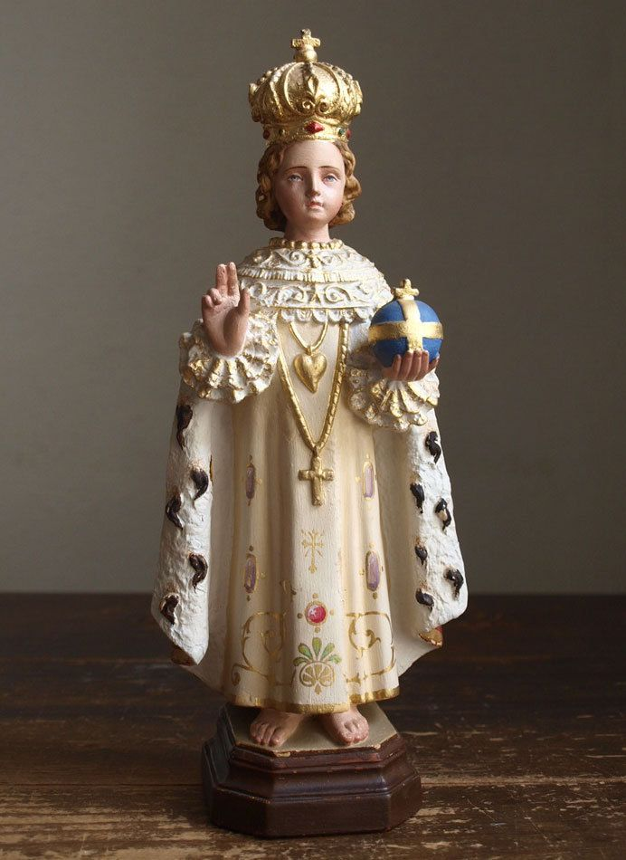 Etsy のThe Infant Jesus of Prague Antique Religious Statues Young Jesus Vintage Figure /255(ショップ名:GliciniaANTIC)
