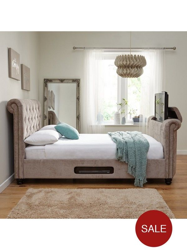 Stowe Fabric Tv Bed Frame In Double And King Sizes With Money Saving Mattress Offeryour