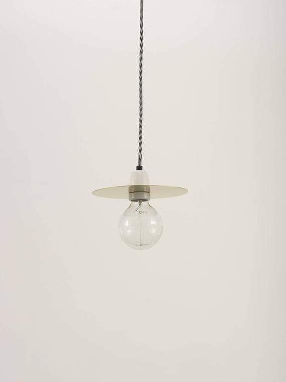Arc Brass Disc Pendant Light With Fabric Cable And White Ceramic Lampholder Lumiere Mains