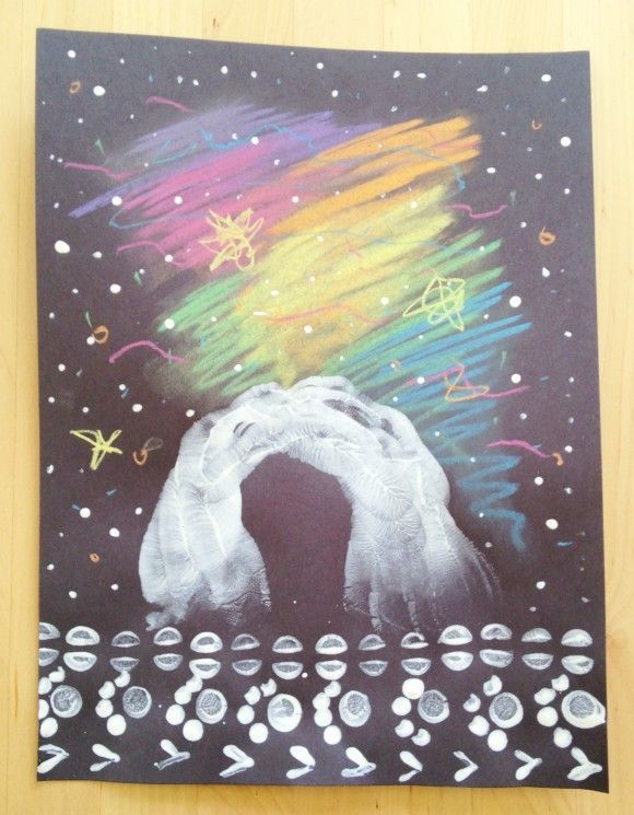 Northern lights art with kids (chalk pastel, black paper, white tempera paint)