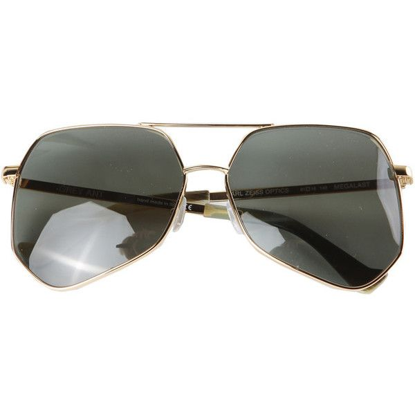 Grey Ant Megalist Aviators ($420) ❤ liked on Polyvore featuring accessories, eyewear, sunglasses, grey ant sunglasses, aviator sunglasses, aviator style glasses, grey ant and aviator eyewear