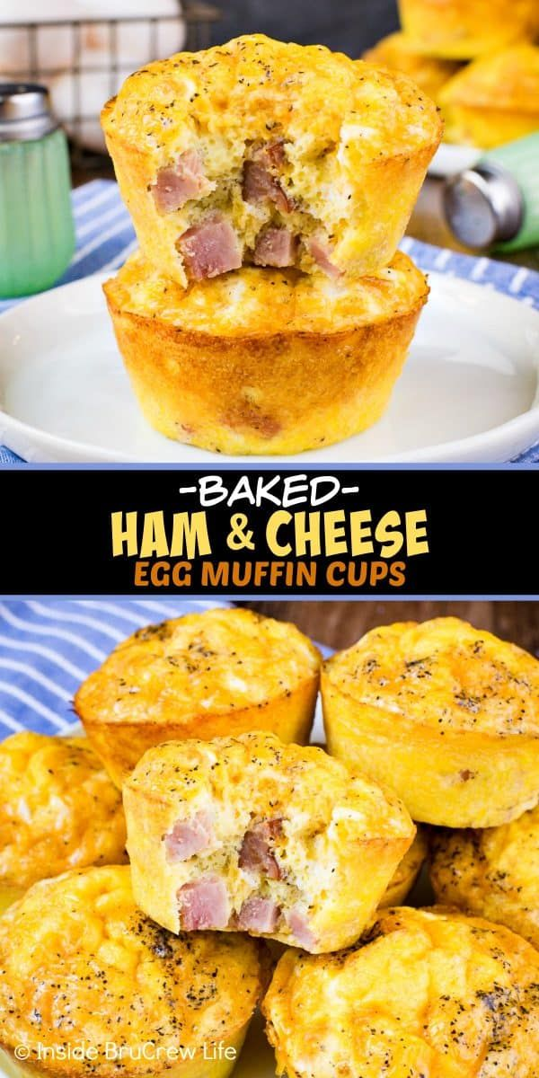 Baked Ham and Cheese Egg Muffins – these easy to make egg muffins make a delicious and healthy breakfast.  Perfect recipe to make and freeze ahead of time!  #breakfast #eggs #healthy #ketofriendly #eggmuffins #freezerfriendly