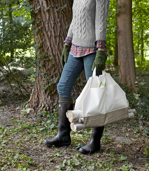 Make a jaunty firewood carrier out of a plain canvas bag.     #crafts #diyprojects