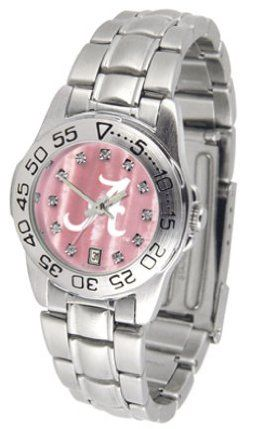 Alabama Crimson Tide Ladies Sport Watch with Steel Band and Mother of Pearl Dial by SunTime. $69.84. Rotation Bezel/Timer. Calendar Date Function. Scratch Resistant Face. This handsome, eye-catching watch comes with a stainless steel link bracelet. A date calendar function plus a rotating bezel/timer circles the scratch resistant crystal. Sport the bold, colorful, high quality Alabama Crimson Tide logo with pride.The hypnotic iridescence of our natural blush mother of pearl com...