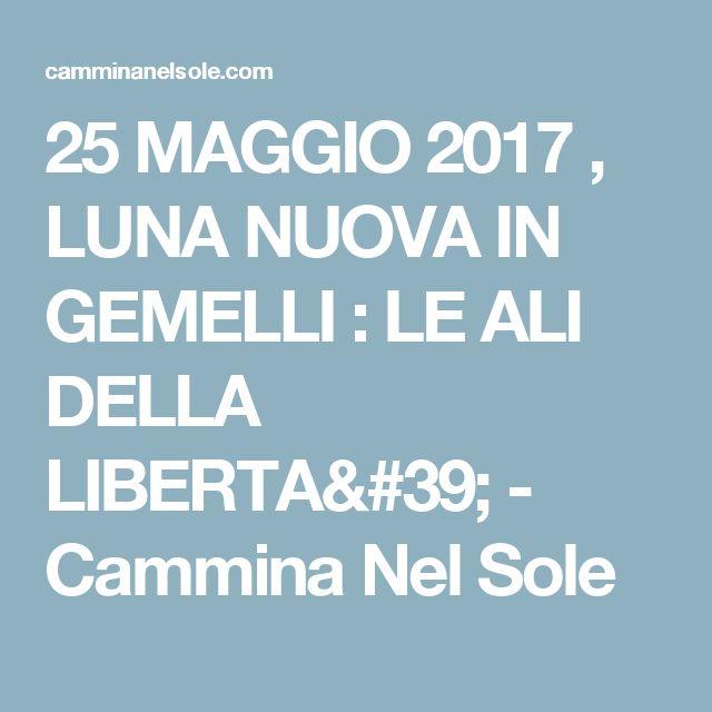 25 MAGGIO 2017 , LUNA NUOVA IN GEMELLI : LE ALI DELLA LIBERTA' - Cammina Nel Sole