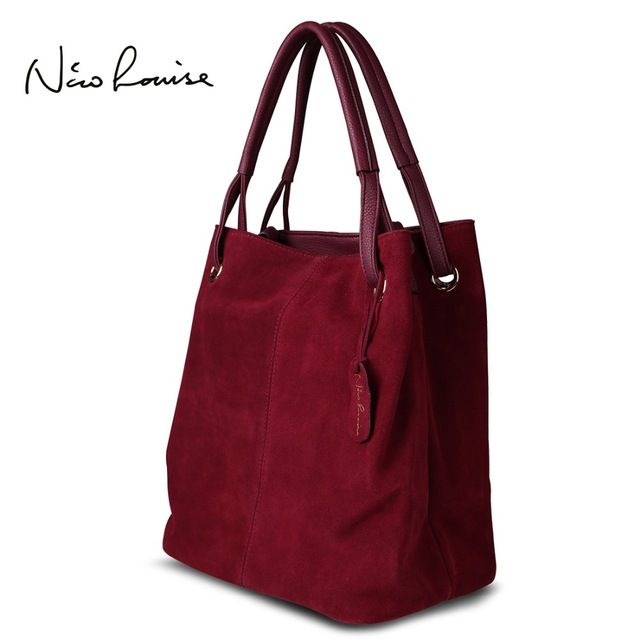 Daily Offers $39.37, Buy Nico Louise Women Real Split Suede Leather Tote Bag,New Leisure Large Top-handle Bags Lady Casual Crossbody Shoulder Handbag