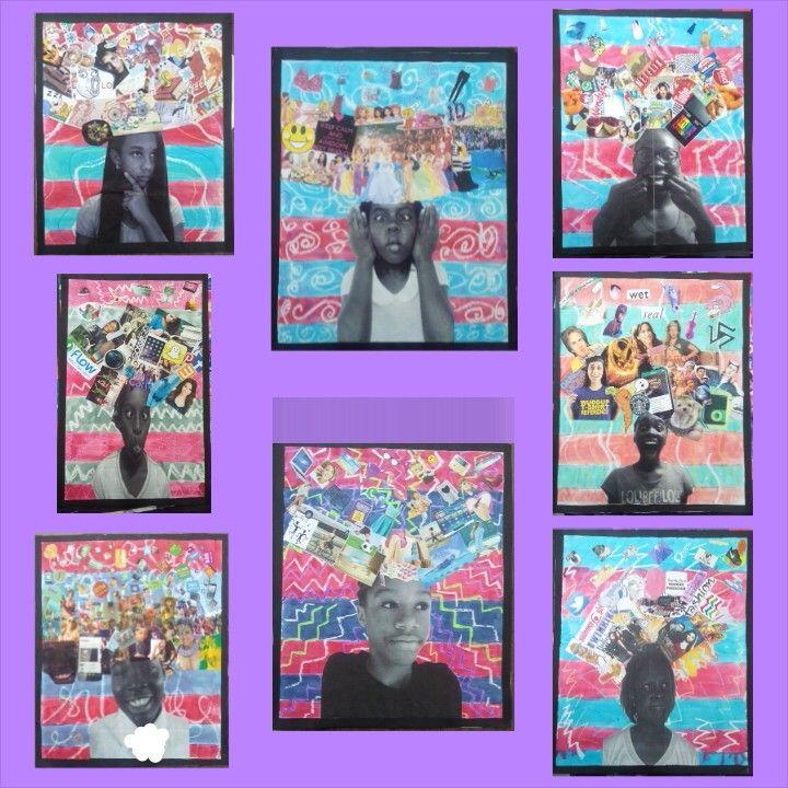 Grade 7 self portraits using paper batik and collage (2014-15)