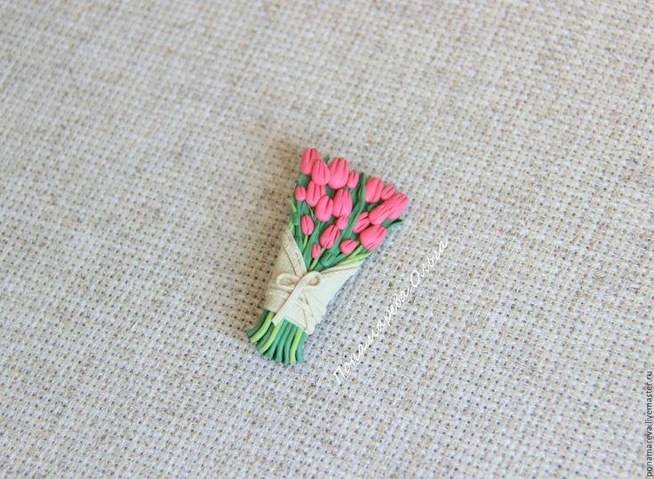 Купить Букет тюльпанов. Брошь - тюльпаны, брошь тюльпаны, весна, цветы, цветы из полимерной глины