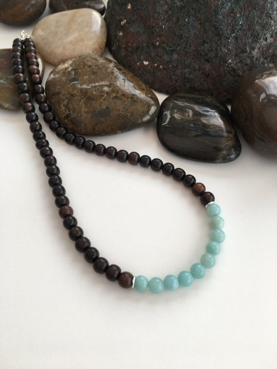 Tiger ebony and Amazonite necklace short necklace wooden by Chalso