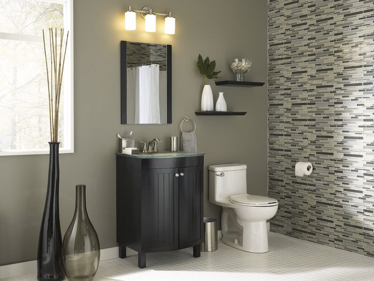Black And Tan Bathroom: Gray And Brown Can Work With Black Trim Or Cabinets. Make