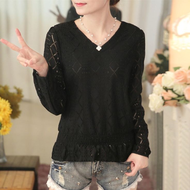 New Women Casual 2017 Autumn Winter Style Lace Chiffon Blouse Top Shirt Full sleeves Solid Elegant Hollow out blusas Plus Size