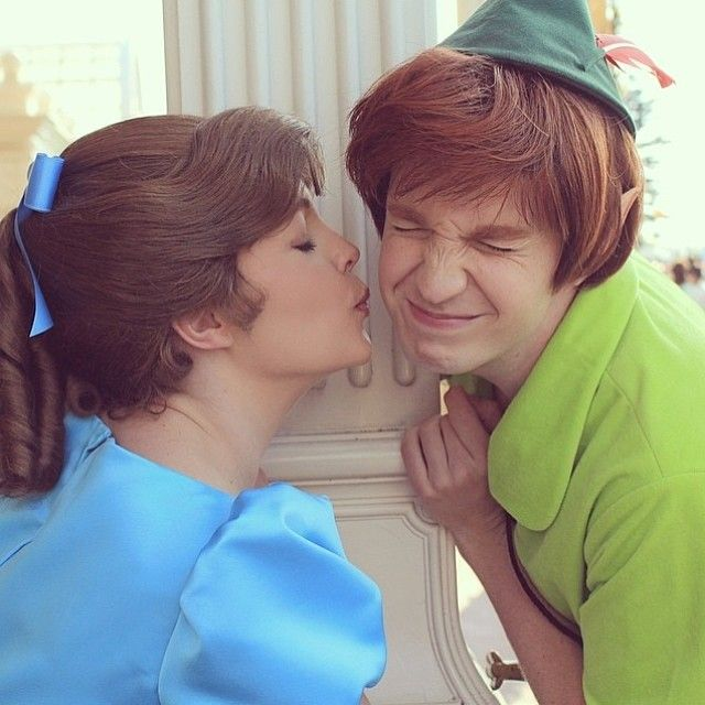Kiss . . . uh . . . I mean thimble. Either way, IT LOOKS LIKE HE'S UP FOR IT!! Only, the live action Peter Pan always WAS looking forward to it.