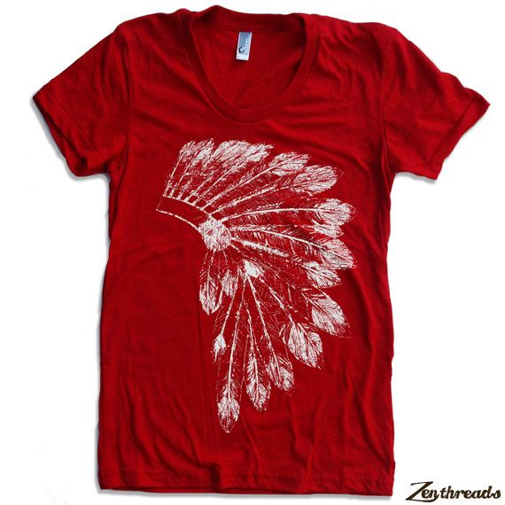 Womens Native American HEADDRESS american apparel T Shirt S M L XL (16 Colors Available) on Etsy, $18.00