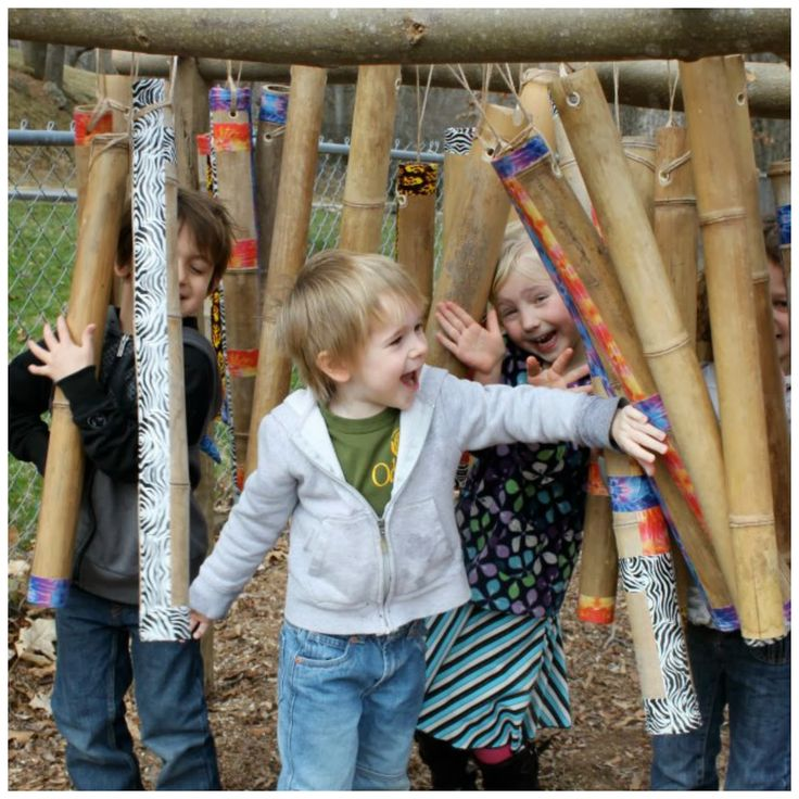 let the children play: building with loose parts Walk thru chimes!!! Such fun!!!