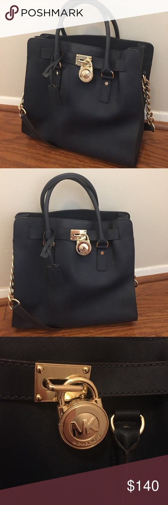 A Michael Kors 'Hamilton'!!! LOVE this bag. Navy blue MK Hamilton. In perfect condition. Used only a few times. This is a great summer work bag (very nautical). Navy blue goes with everything. Gold hardware. Michael Kors Bags Shoulder Bags