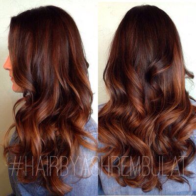 Bayalage highlights brown and red tones