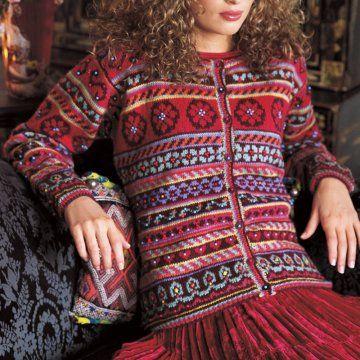 Gilet tricoté en laine multicolore avec motifs jacquard, fleurs et coeur dans un style gipsy