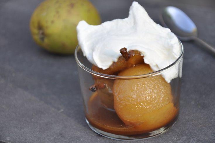 Bagte pærer med cognac, Danmark,Andet, Dessert, Desserter, opskrift