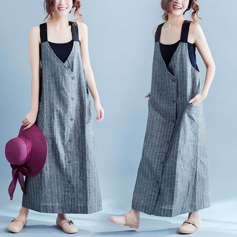 Нашивки хлопка подтяжк платье Увеличенные Причинно Одежда Женщины Одежда Q2105